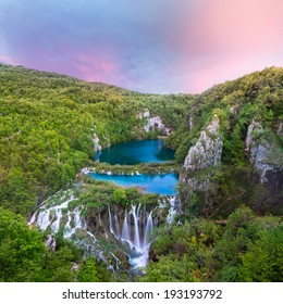 Breathtaking sunset view in the Plitvice Lakes National Park (Croatia)