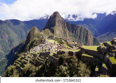 Breathtaking view at the ancient inca city Machu Picchu
