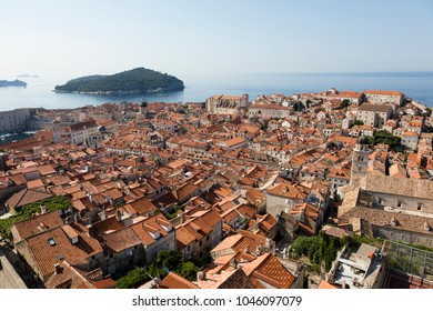Breathtaking view of Dubrovnik with its historic center and red roofs in the morning in summer