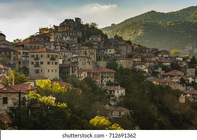 Breathtaking view of the famous Dimitsana village. Dimitsana is a popular Greek tourist destination especially in Winter located in Arcadia, Peloponnese, Greece.
