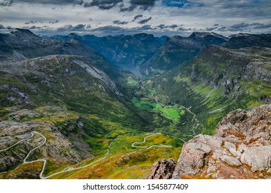 Breathtaking view to Geirangerfjord and mountains landscape and surroundings from Dalsnibba viewpoint in Norway