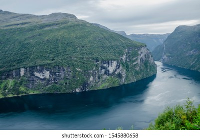 Breathtaking view to Geirangerfjord and mountains landscape and surroundings in Norway