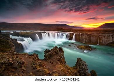 Breathtaking view at Godafoss, Iceland