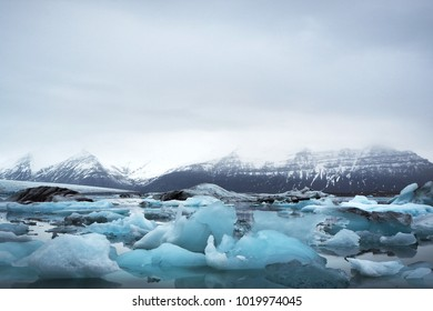 The breathtaking view of ices floating with the iceberg background, Jokulsarlon, Iceland