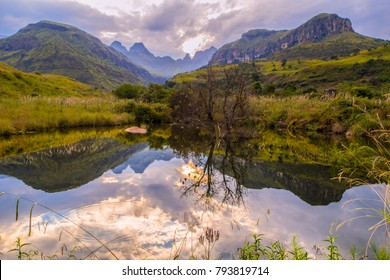 Breathtaking view of the mountains and water in Drakensberg, South Africa,