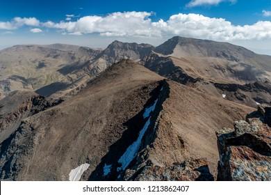 Breathtaking view of Mulhacen from Veleta mountain ridge in Sierra Nevada, Granda, Spain