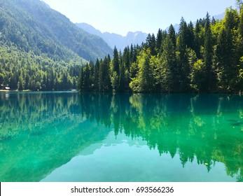 Breathtaking view on alpine lake Fusine, Julian Alps, Italy