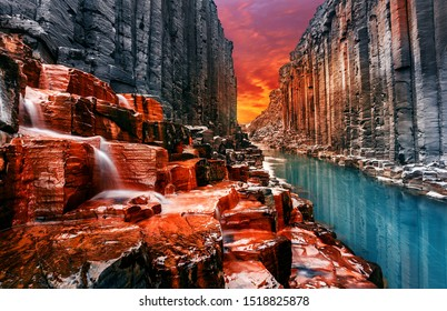 Breathtaking view on tipical nature landscape of Iceland. Studlagil canyon, Iceland. One of the most wonderfull nature sightseeing in Iceland. Iconic location for landscape photographers and bloggers