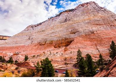 Breathtaking view of the orange cliffs. Amazing mountain landscape. Zion National Park, Utah, USA