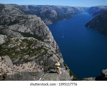 Breathtaking view over the Norwegian Lysefjord and Preikestolen