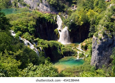 Breathtaking view in the Plitvice Lakes National Park .Croatia wallpaper background