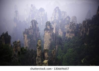 A breathtaking view of the quartzite sandstone pillars in Wulingyuan Scenic Area, zhangjiajie