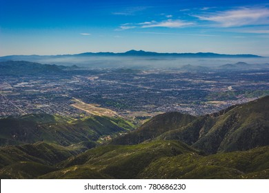 Breathtaking view of the San Bernardino Valley from the San Bernardino Mountains with Santa Ana Mountains visible in the distance, Rim of the World Scenic Byway, San Bernardino County, California
