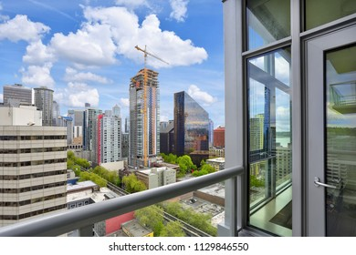 Breathtaking view of Seattle cityscape from apartment balcony. Northwest, USA