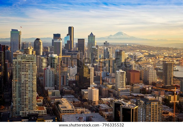 Breathtaking view of Seattle Washington on a sunny day in the Pacific Northwest.
