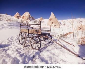 Breathtaking view of Valley in winter season, Cappadocia national park, Turkey
