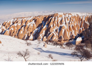 Breathtaking view of Valley in winter season, Cappadocia national park, Turkey