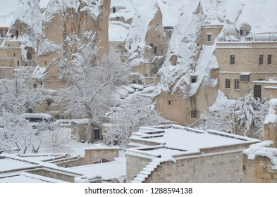 Breathtaking view of Valley in winter season, Cappadocia national park, Turkey. Heavy snow fall during christmas time.