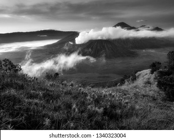 Breathtaking view of Volcanos at Bromo, consisting of Active Bromo, Mount Batok and Mount Semeru. beautiful landscape landmark and popular destinations in indonesia. black and white photograpy.