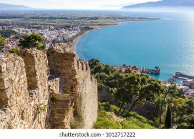 breathtaking view from the walls of fortress of Nafpaktos, Greece