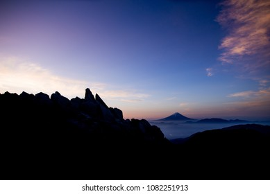 breathtaking views of Mt. Fuji from another beautiful mountain, Japan
