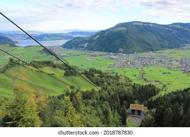 Breathtaking views from the Stanserhorn cable car, on the way up the Stanserhorn Mountain in Switzerland.