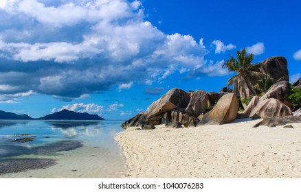 Breathtaking views of the white sand beach and blue waters of La Digue Island, Seychelles