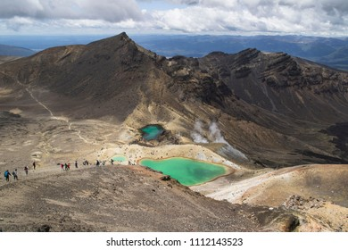 Breathtaking volcanic landscape view to the green lakes on tongariro Alpine crossing. One of the great walks in New Zealand, North Island. The most scenic walk in the world.