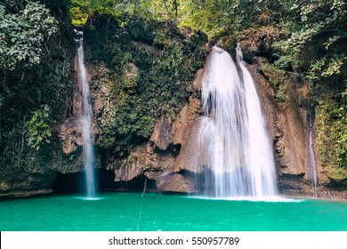 Breathtaking waterfall in Kawasan falls, Philippines
