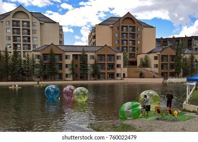 BRECKENRIDGE, CO - JULY 4, 2016: Multiple recreation opportunities exist in Breckenridge, Colorado including water walking balls