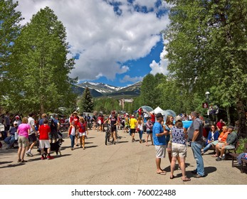 BRECKENRIDGE, CO - JULY 4, 2016: Tourists enjoy Downtown Breckenridge after the annual 4th of July Parade