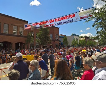 BRECKENRIDGE, CO - JULY 4, 2016: The annual 4th of July parade rolls down Breckenridge`s Main Street in 2016.
