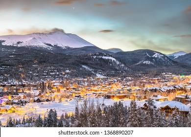 Breckenridge, Colorado, USA town skyline in winter at dawn.