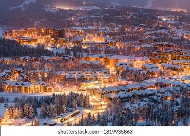 Breckenridge, Colorado, USA town skyline in winter at dusk.