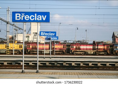 BRECLAV, CZECHIA  - MARCH 16, 2013: Cargo freight locomotives from CD cargo waiting near the platforms of the border train station of breclav, between Austria and Czech Republic.