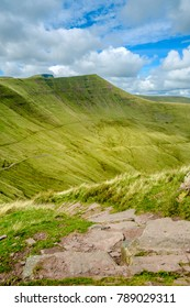 Brecon Beacons. Descending path from Fan Y Big in the midday sun.
