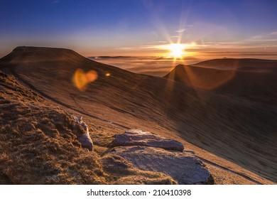Brecon Beacons. Sun rising over Pen Y Fan