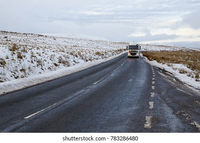 Brecon Beacons, UK: December 28, 2017: A Daf tanker truck drives on the A4059 in Wales. Calor Gas is a brand of bottled butane and propane which is available in Britain and Ireland.