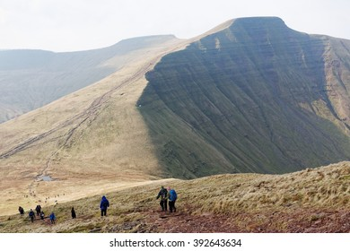 BRECON BEACONS, WALES, 27 FEB 2016.  Editorial Photograph of Hikers approaching Summit of Pen y Fan in the Brecon Beacons National Park