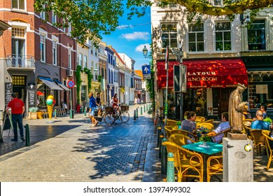 BREDA, NETHERLANDS, AUGUST 5, 2018: People are strolling through center of Breda, Netherlands