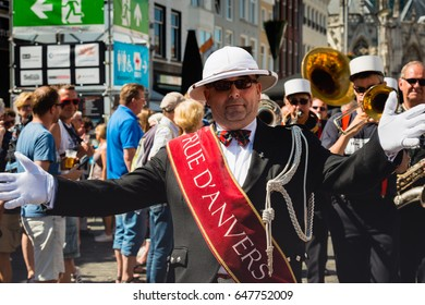 BREDA, NETHERLANDS - MAY 25: 47th Jazz Festival in the Dutch city of Breda. This is the Grand Marshal of the jazz orchestra Rue d'Anvers during a walking street concert on Ascension Day May 25, 2017.