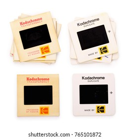 BREDA, NETHERLANDS - NOVEMBER 29: Kodak Kodachrome Transparency in a Cardboard Mount. Contains Clipping Path. This was a popular film used by amateurs and professionals worldwide.