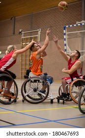 BREDA, NETHERLANDS �¢?? OCTOBER 12 : Dutch physically disabled athletes playing wheelchair basketball during the Paragames, a big bi-yearly event on OCTOBER 12, 2013 in BREDA, NETHERLANDS