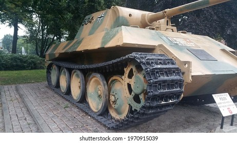 Breda, The Netherlands - September 8, 2020: This German Panther tank (Panzer V D-type) was given to Breda in 1945 by the Polish liberators. The tank is resprayed in the original camouflage paint