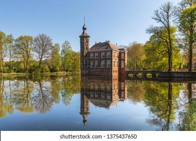 Breda, North Brabant, The Netherlands - April 20 2019: Kasteel Bouvigne, a historic water castle, today owned by Waterschap Brabantse Delta