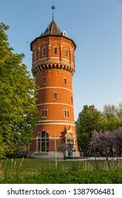 "Breda, North Brabant, The Netherlands - April 19 2019: ""Watertoren Wilhelminasingel"", a defunct water tower build in 1893-1894. It was converted in an office building in 2003"