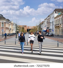 BREDA-MARCH 31, 2017. Zebra crossing to the new railway station. The Breda municipality announces additional measures because hurried motorists seems not alert enough on the safety of pedestrians.