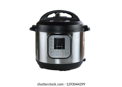 Breeding, KY, USA - January 08, 2019: Instant Pot pressure cooker isolated over white background with clipping path included.