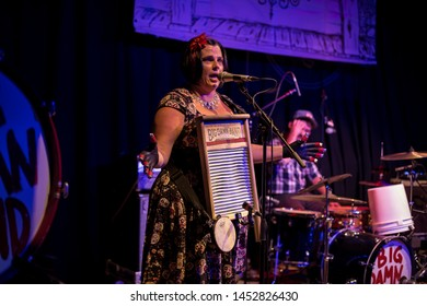 Breezy Peyton, washboard ofThe Reverend Peyton's Big Damn Band live at band on the wall manchester July 8th 2019