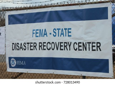 BREEZY POINT, NEW YORK - NOVEMBER 15, 2012: FEMA opens disaster recovery center in devastated area in the aftermath of Hurricane Sandy in Breezy Point, New York